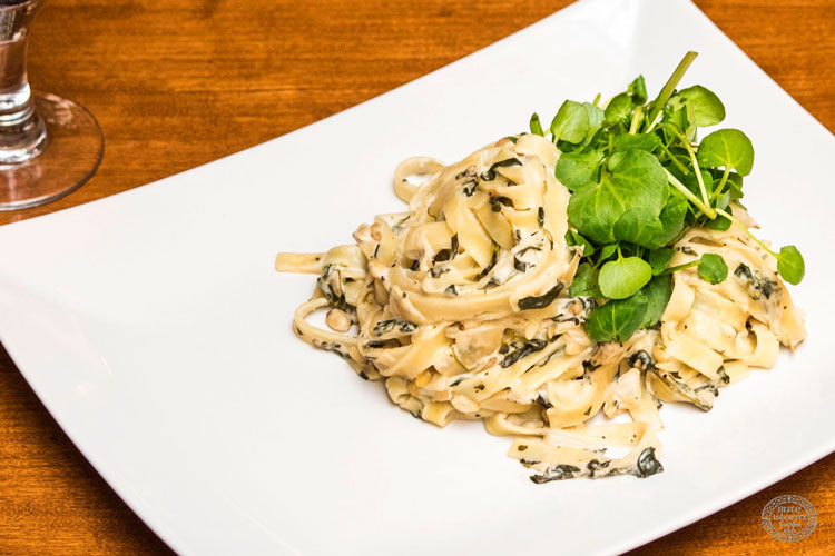 Creamy Pasta with Watercress, Spinach and Pine Nuts