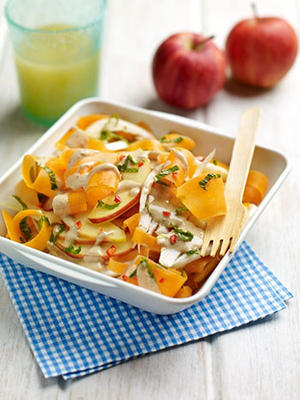 Carrot and apple salad with cashew dressing