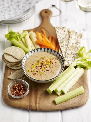 Almond Satay Dip with Flat Breads and Veg