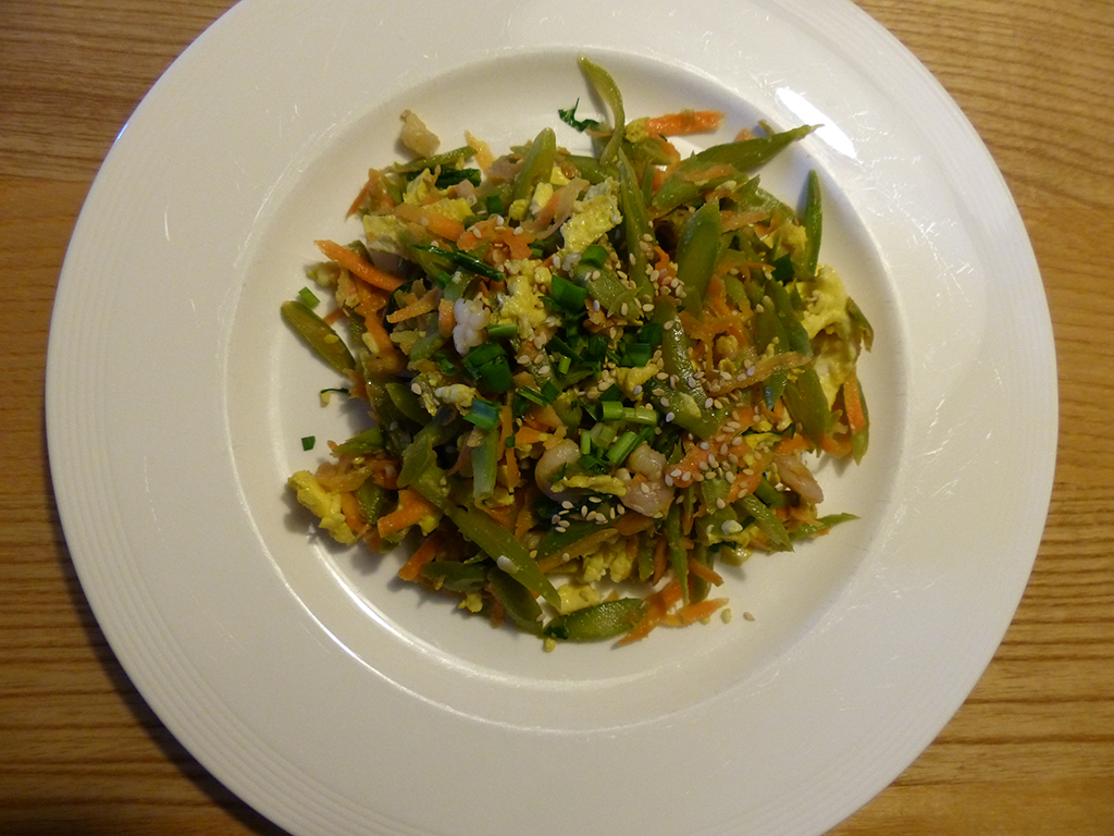 Runner bean & prawn salad