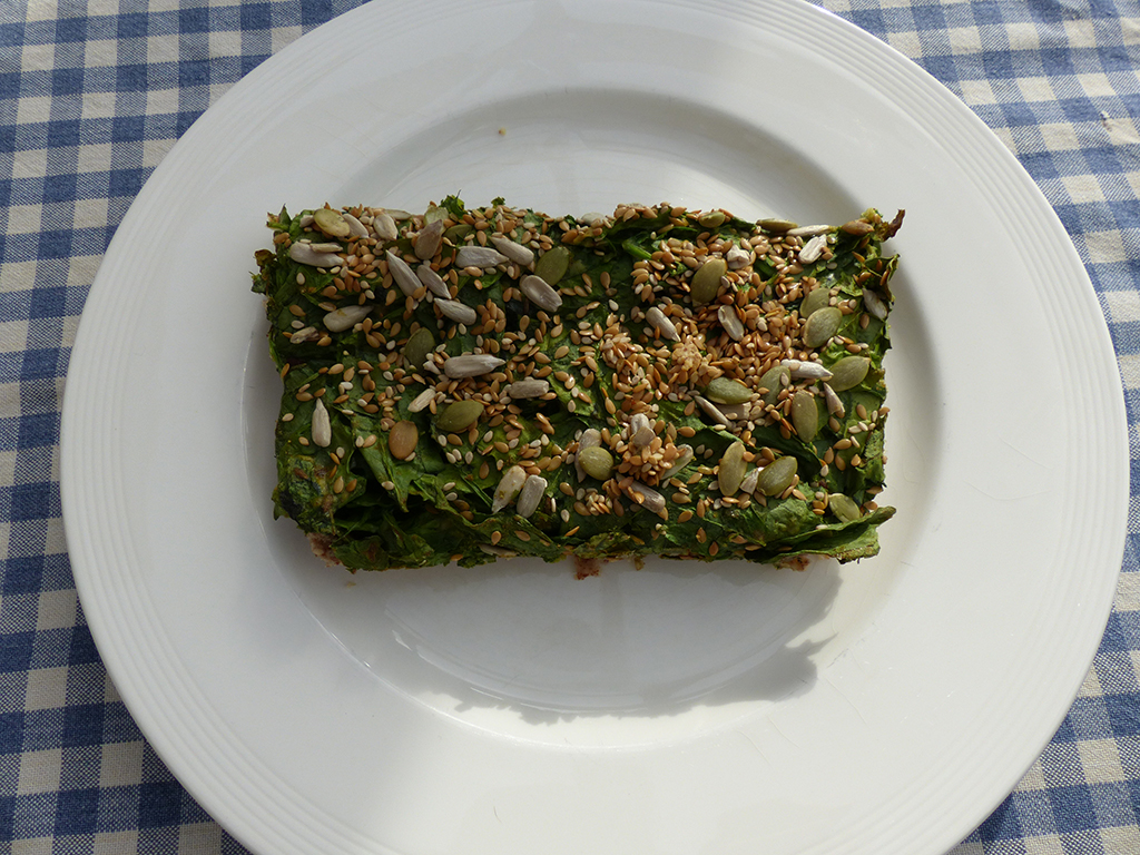 Spinach Pie with nuts, avocado and seeds