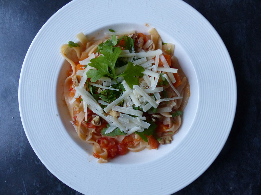 Tagliatelle and tomato sauce