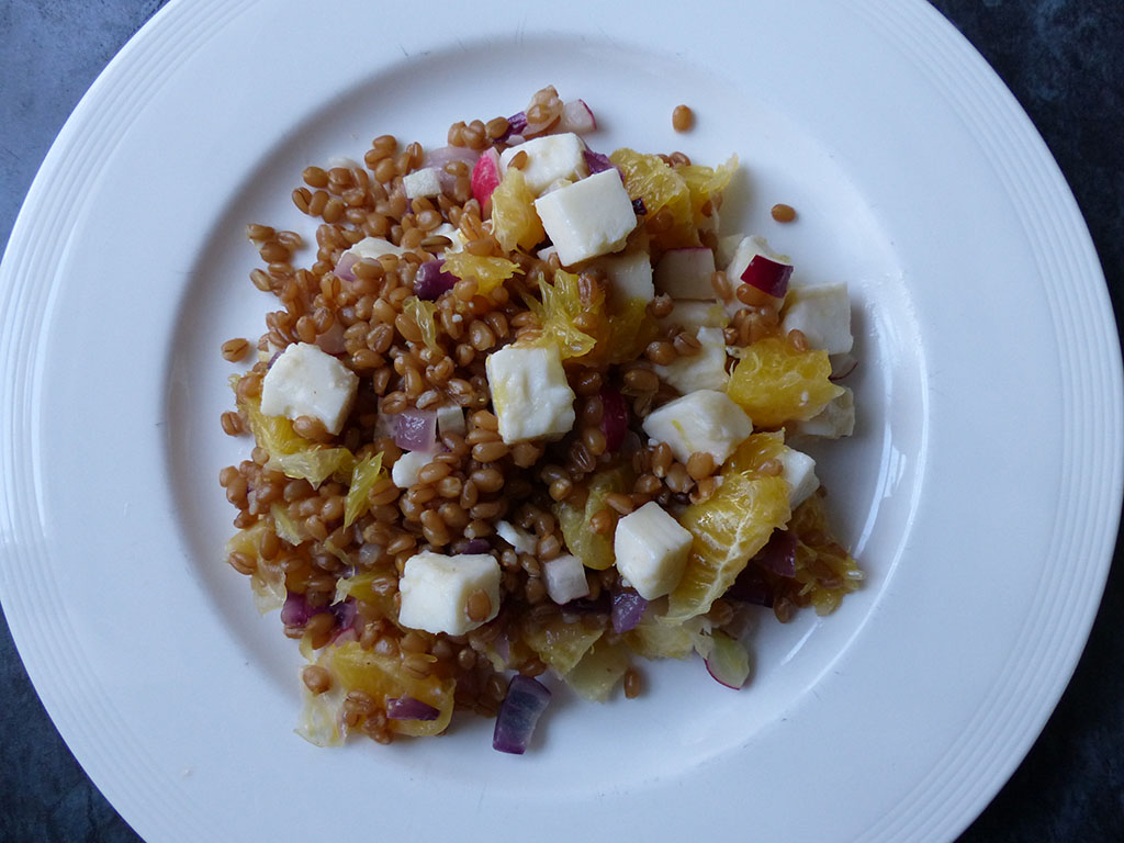 Wheat Grain Salad with Vegan Feta